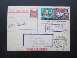 BRD GA P94 Nach Pitcairn Islands Mit Antwortkarte. 1967/68 Tolle Frankatur Sehr Seltene Destination! Registered Air Mail - Pitcairninsel