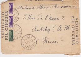 ITALIE  LETTRE CENSUREE AVEC CORRESPONDANCE - 1900-44 Vittorio Emanuele III
