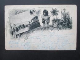 Kolonie Deutsch - Neu - Guinea Nr. 3a EF Postkarte / Mehrbild Gruss Aus Matupi. Eingebohrener Von Neupommern. Tanzmasken - Colonie: Nouvelle Guinée