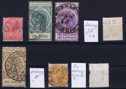 South Australia:  7 Perfins  SA  A  GWA   Used - 1855-1912 South Australia