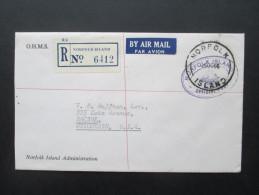 Norfolk Island 1966 Registered Letter R No 6412. Dienstpost O.H.M.S. Norfolk Island Administration. Nach Wisconsin USA - Norfolk Island