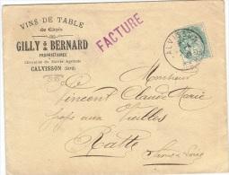 FR-L54- FRANCE Belle Lettre Commerciale Vins De Table Gilly De Calvisson Avec 5cts Type Blanc 1906 - 1900-29 Blanc
