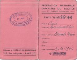 CARTE SYNDICALE 1944  .FEDERATION NATIONALE OUVRIERE DU TEXTILE - Cartes