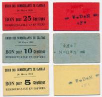CLAIRAC // UNION Des COMMERCANTS //  5 & 10 & 25 Centimes - Bons & Nécessité