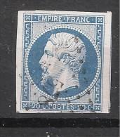 Empire N° 14 A F BLEU LAITEUX Obl Pc 578 De CAEN Calvados , Belle Frappe , 1 VOISIN, TTB - 1853-1860 Napoleon III