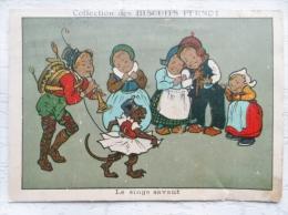Chromo Biscuits Pernot : Le Singe Savant(dos Abimé) - Pernot