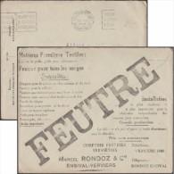 Belgique 1928. Enveloppe En Franchise Des Chèques Postaux. Pubs : Textile, Feutre Pour Verre, Automobile, Chemin De Fer - Tessili