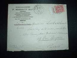 LETTRE TP SEMEUSE 50C + PUBLICITE LAME LE COQ OBL.16-11-28 SEMALENS TARN (81) - Marcophilie (Lettres)