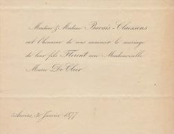 Faire Part De Mariage Bavais Claessens Florent De Cleer 1877 Anvers Fond Ministre Jacobs - Mariage