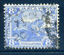 Malaysia - Federated Malaya States - 1902-22 Tiger - 8c Ultramarine - Wmk. Mult. Crown CA - Used (SG 42) - Federated Malay States