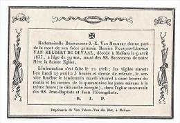 Faire Part Décès Messire François Léopold VAN MELDERT DE DEVAAL Malines Mechelen 1835 - Décès