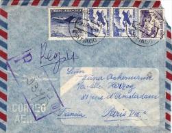 CHILI  CHILE 1956    Recommandé Ayant Voyagé De Santiago à Paris     Avions - Chile
