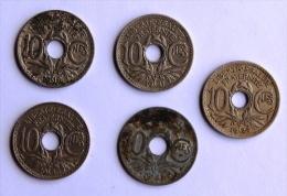 LOT DE 5 Pièces 10c TYPE LINDAUER 1918-26-31-36-41 - D. 10 Centimes