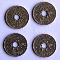 LOT DE 4 Pièces De 5c TYPE LINDAUER - C. 5 Centimes