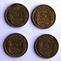 LOT DE 4 Pièces De 50C TYPE MORLON 1937-39-41x2 - G. 50 Centimes
