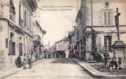 47 - GONTAUD - La Grande Rue Et Le Calvaire - Dos Vierge TTBE - 2 Scans - France