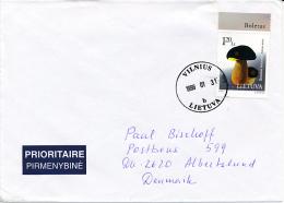Mi 649 Single Stamp Cover - 31 January 1998 Vilnius - Boletus Aereus Dark Cep Bronze Bolete Mycology Fungus - Lithuania
