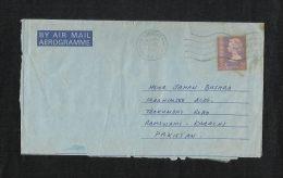 Hong Kong China 1980 Air Mail Postal Used Aerogramme Cover With Stamps HongKong To Pakistan - Hong Kong (1997-...)