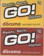 Northern Mariana Islands - NTT Docomo Pacific Phonecards , Ready, Send GO!, 5$ & 10$, Used - Northern Mariana Islands