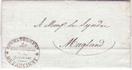 """1837 - Lettre Du Royaume De Savoie - En Franchise """" Commandement Du FAUCIGNY """" Pour Magland - Marcophilie (Lettres)"""