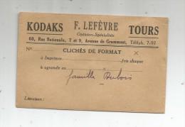 Enveloppe Pour Photographies , Publicité , KODAKS , F. LEFEVRE , TOURS - Photographie
