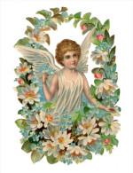 Grand Découpi ANGE ENFANT Dans Un MEDAILLON FLEURI Grand Format 17 Cm Gaufré - Anges