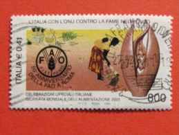 ITALIA USATI 2001 - ITALIA ONU CONTRO FAME NEL MONDO FAO - SASSONE 2573 - RIF. G 2232 LUSSO - 6. 1946-.. Repubblica