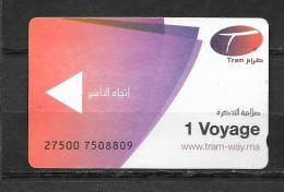"""Ticket Tramway. """"Rabat"""" Maroc. (Voir Commentaires) - Tram"""