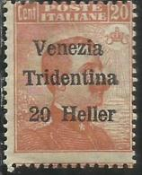 TRENTINO ALTO ADIGE 1918 SOPRASTAMPATO D´ITALIA ITALY OVERPRINTED NUOVO VALORE 20 H SU 20 C MNH - 8. Occupazione 1a Guerra