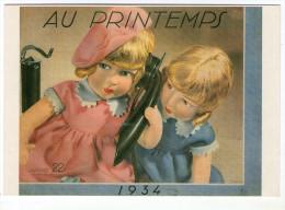 CPM  PUBLICITE   AU PRINTEMPS   1934      COUVERTURE CATALOGUE DESSIN JARACH      POUPEES AU TELEPHONE - Publicité