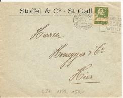 Switzerland, St. Gallen 22.12.1924 Brief, Zu. 153 Poko, Rollenmarke, Rouleau, Coil, Perfin S 26, Siehe Scans! - Covers & Documents