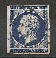 BLEU NOIR, LOSANGE De PARIS H Sur Napoléon III Non Dentelé. - 1849-1876: Période Classique