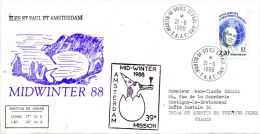 N°425 B -enveloppe TAAF -cachet Midwinter 88- - French Southern And Antarctic Territories (TAAF)