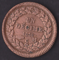 Monaco - Honoré V - Un Décime 1838 MC - Gadoury N°105 - TTB - 1819-1922 Honoré V, Charles III, Albert I