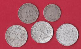Allemagne - Lot De 5 Monnaies - [ 3] 1918-1933 : Weimar Republic