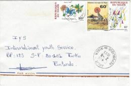 Niger 1993 Arlit Giraffe Fountain Plan (Russelia Equisetiformis) Mabille´s Red Cymothoe Sangaris Butterfly Cover - Niger (1960-...)