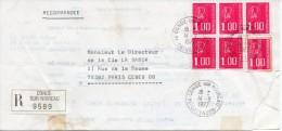 1977 - Marianne De Béquet Sur Lettre-enveloppe Recommandée. 6 Timbres N°1892 . - 1971-76 Maríanne De Béquet