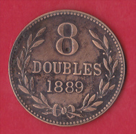 Guernesey 8 Doubles 1889  - Pick N°7 - TTB - Guernesey
