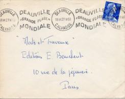 "1953 - Deauville - Obl KRAG ""DEAUVILLE = GRANDE PLAGE = MONDIALE"" - Timbre Marianne De Muller N° 1011B - Annullamenti Meccanici (pubblicitari)"
