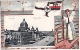 LEIPZIG Patriotika Reichsgericht Dame Im Matrosen Look Reichskriegs Flagge 10.2.1909 Gelaufen - Leipzig