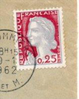 1962 - Marianne De Decaris N°1263 Sur Lettre - Impression Grise Décalée à Droite - Profil Et Cou Dédoublés. - 1960 Marianne De Decaris