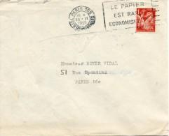 """1945 - Timbre IRIS N°652 Sur Lettre - Obl FLIER """"LE PAPIER EST RARE ECONOMISEZ-LE"""" - 1939-44 Iris"""