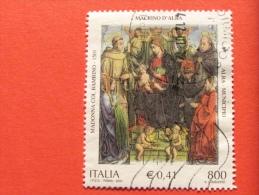 ITALIA USATI 2001 - MADONNA COL BAMBINO ANGELI S FRANCESCO TOMMASO - SASSONE 2576 - RIF. G 2234 LUSSO - 6. 1946-.. Repubblica