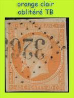 N° 16 NAPOLÉON SECOND EMPIRE 1853 - ORANGE CLAIR - OBLITÉRÉ TB - GC 3265 : SAINTES - - 1853-1860 Napoleone III
