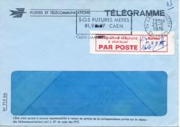 """1976 - Enveloppe Télégramme Mod 715bis - Vign. """"Télégramme Téléphoné à Distribuer PAR POSTE"""" Obl SECAP """"SOS FUTURES MERE - Other"""