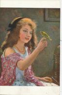 """ENFANTS - LITTLE GIRL - TABLEAU - SALON - """"Hors La Cage"""" - Par X. BRICARD - Edit. LAPINA (fillette Et Oiseau) - Portraits"""