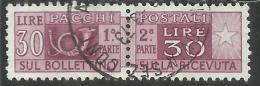 ITALIA REPUBBLICA ITALY REPUBLIC 1955 1979 PACCHI POSTALI PARCEL POST STELLE IV STARS 1956 LIRE 30 USATO USED OBLITERE´ - Postpaketten