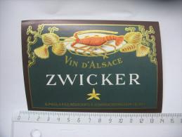Etiquette Vin D'alsace Zwicker - Non Classificati