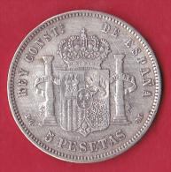 Espagne 5 Pésétas 1892 - World Coins N°700 - TTB - [ 1] …-1931 : Royaume