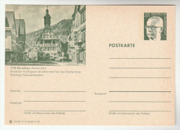 1972  GERMANY POSTAL STATIONERY CARD Illus KUNZELSAU HOHENLOHE CLOCKTOWER, ARCHITECTURE , CARS Cover Stamps Clock Car - Horlogerie